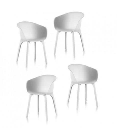IDEA Lot de 4 chaises de jardin - Diva - Blanche