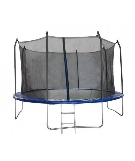 Trampoline 366 cm Noir et bleu TRIGANO Échelle et filet de protection inclus