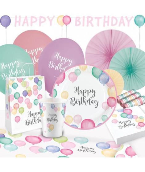 KIt de Fete Happy Birthday Pastel 50 Pieces