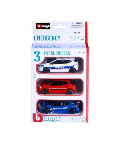 Pack de 3 véhicules d'urgence Collection Emergency 1/43 Bburago