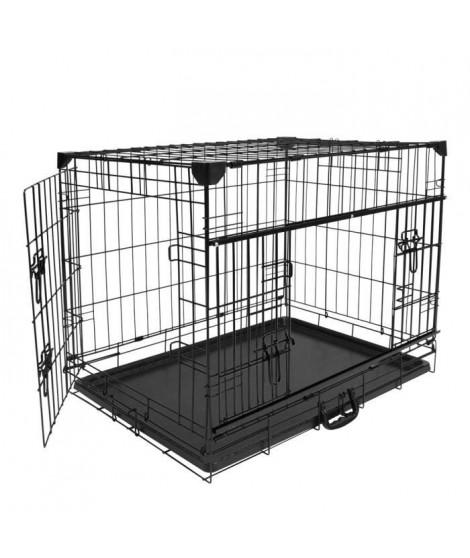 DUVO+ Cage Fer Ninja Edition avec porte coulissante 91 x 61 x 69 cm - 11,6 kg - Noir - Pour chien