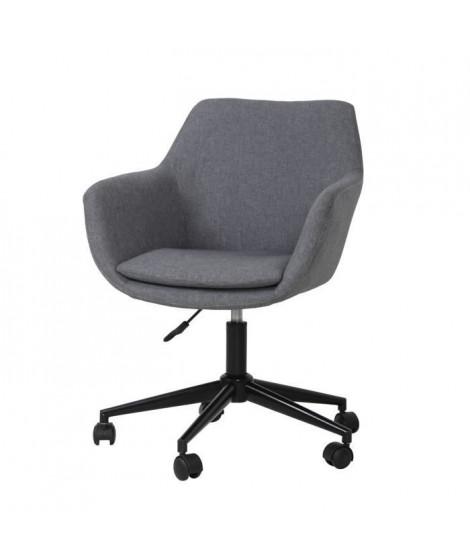Chaise de bureau - Tissu gris - L 58 x P 54 x H 90 cm STANLEY