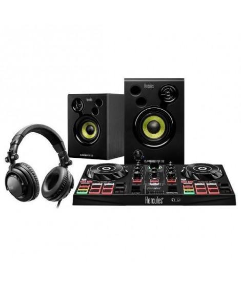 HERCULES DJLEARNING KIT - Contrôleur DJ 2-platines + Enceintes actives 2 x 15W + Casque DJ