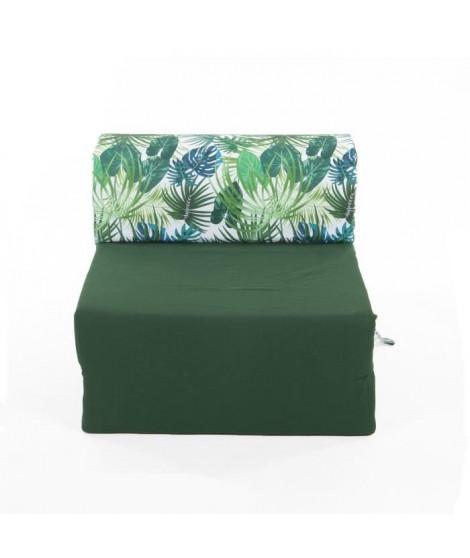 Chauffeuse 1 place - Tissu Vert Depp Jungle - L 58 x P 75 x H 45 cm