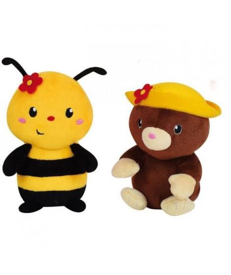 SILENCE CA POUSSE Lot de 2 pots du jardinier avec peluches +/- 13 cm: abeille et taupe