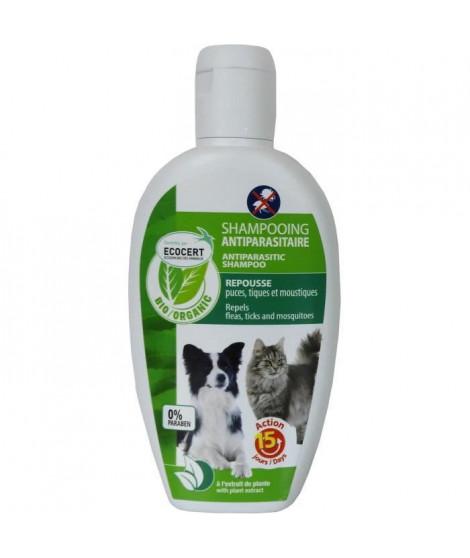 VETOCANIS Shampoing anti-puces et anti-tiques Bio - 200 ml - Contrôlé ECOCERT - Pour chat et chien