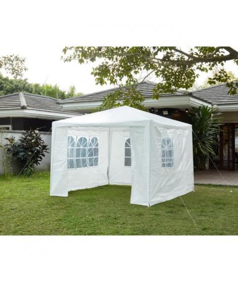 Tonnelle de jardin Bari - En acier toile polyester - 3 x 3 m - Blanc