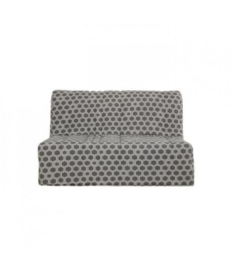 Banquette BZ - Matelas Dunlopillo 140x190 - Tissu gris - L 149 x P 55 x H 43 cm - Made in France - CHARLINE