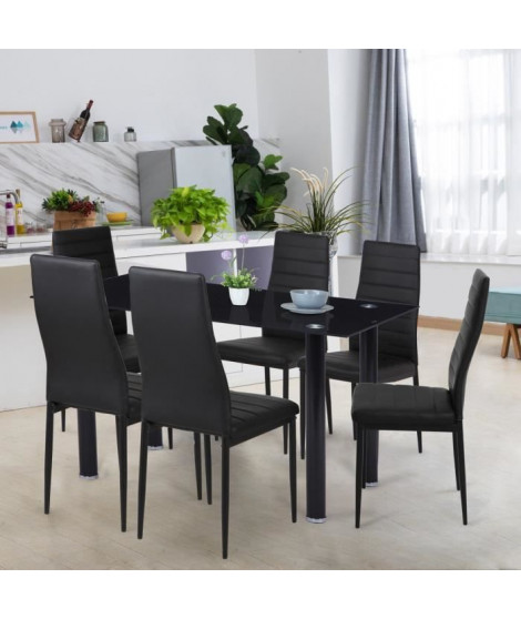 Ensemble Table a manger 140x80 cm + 6 chaises - Métal - Plateau en verre trempé - JIM