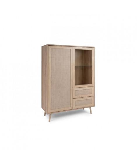 Vitrine 2 portes 2 tiroirs - Décor chene sonoma - L 101,4 x P 40 x H 139 cm - BALI