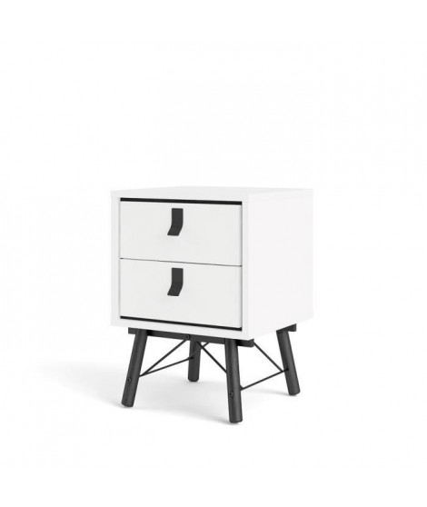 TVILUM Chevet 2 tiroirs - Blanc et noir mat - L 43,3 x P 40,1 x H 59,6 cm - RY