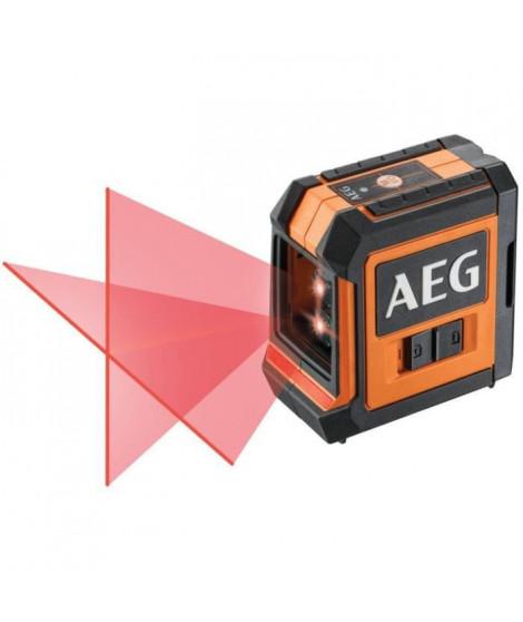 AEG Mesure laser CLR215-B, portée 15 m, laser rouge, 2 lignes, avec 1 adaptateur, 2 piles AA, 1 pochette de rangement, bande …