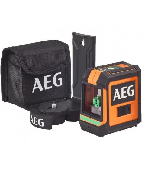 AEG Mesure laser CLG220-B, portée 20 m, laser vert, 2 lignes, avec 1 adaptateur, 2 piles AA, 1 pochette de rangement, bande v…