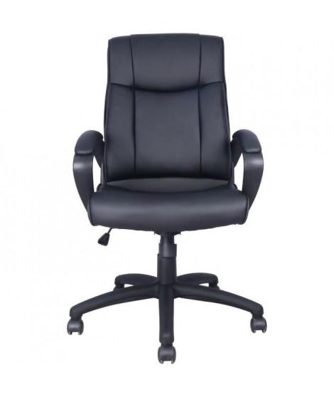 JULES Fauteuil de bureau - Simili Noir - L 55 x P 50 x H 110-120 cm
