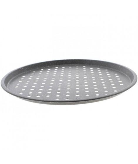 THEKITCHENETTE 6020797 - Plaque a pizza perforée 33cm en acier carbone effet pierre - Revetement anti-adhésif