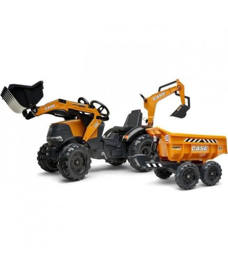 FALK - 997W - Tractopelle a pédales Case IH Construction avec excavatrice et selle pivotante + remorque double essieux bascul…