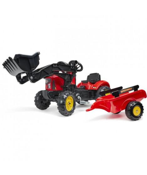Tracteur a pédales Supercharger rouge avec capot ouvrant et remorque