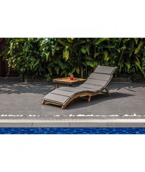 Chaise longue courbée pliable en bois d'acacia KOS - Matelas gris anthracite