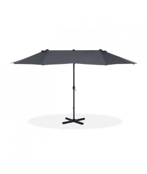 Parasol droit 2 tetes en aluminium et polyester - 460 x 275 cm - Gris