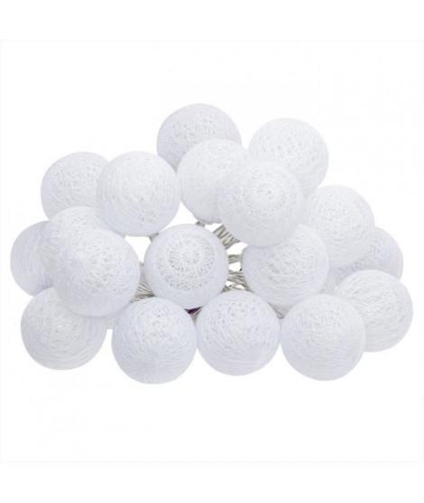 Guirlande LED Secteur - 20 Boules - Blanc - Ø 6 cm
