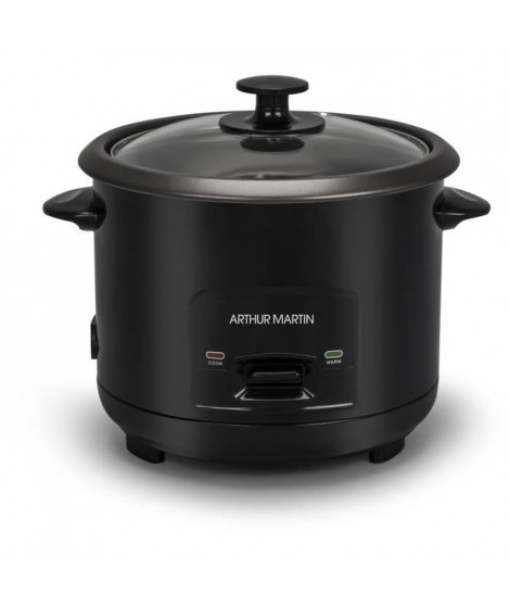 ARTHUR MARTIN AMP852 - Cuiseur a riz 2,8L - 1000W - Cuisson automatique - Jusqu'a 16 personnes - Résistant a la chaleur - Noir