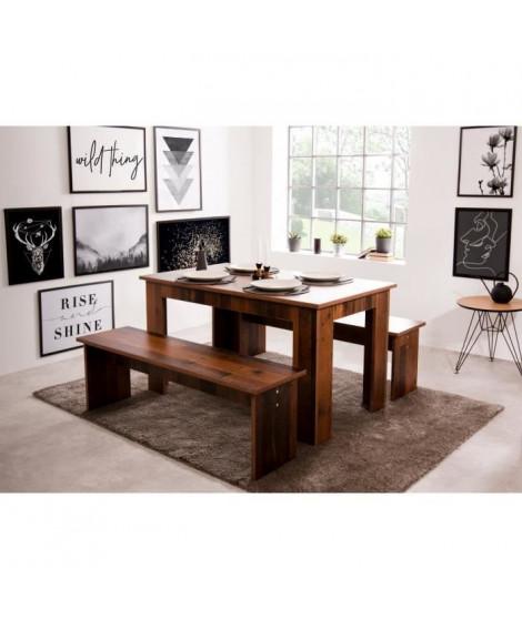 Ensemble Table a manger 140x80 cm + 2 bancs - Boisé Old Style - L 140-180 x P 80 x H 77 cm - MUNICH