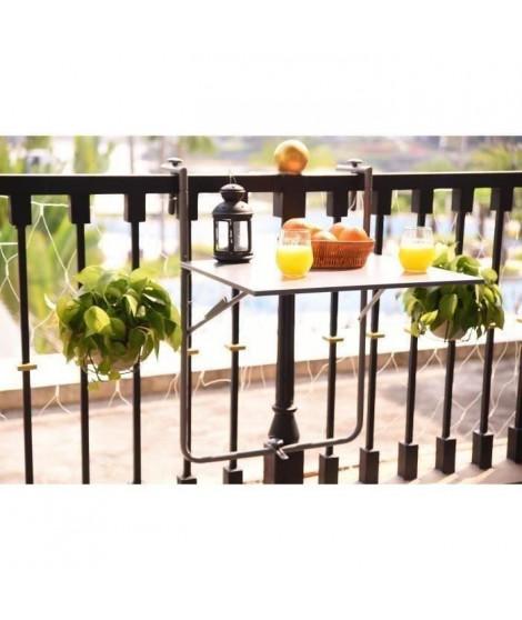 Table de balcon en Acier - Rabattable & Hauteur ajustable - 60 x 78 x 86-101 cm - Gris