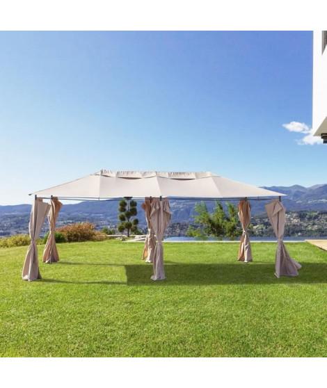 Gazebo - 3 x 6 m - Avec Rideaux - Structure Acier & Toile Polyester -  Taupe
