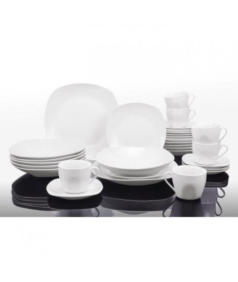 T1003048-60X - Service de table 60 pieces - Porcelaine - Forme faux carrée - Blanc