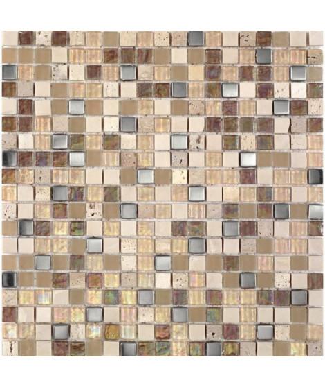 Mosaique en pate de verre et pierre naturelle 30 x 30 cm - Beige