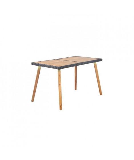 BEAU RIVAGE Table de jardin en bois d'acacia 100% FSC et résine tressée - 120 x 70 x 73 cm - Marron