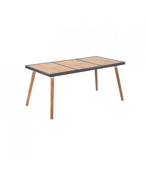 BEAU RIVAGE Table de jardin en bois d'acacia 100% FSC et résine tressée - 160 x 80 x 73 cm - Marron
