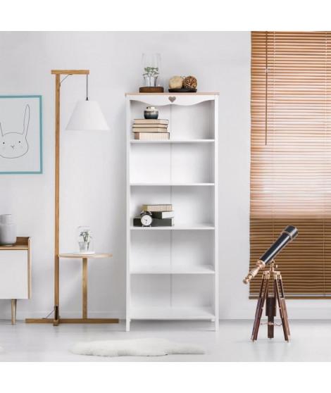 Bibliotheque enfant - Décor Chene et laqué blanc - MDF et Pin Massif - L70 x P35 x H180 cm - HARO
