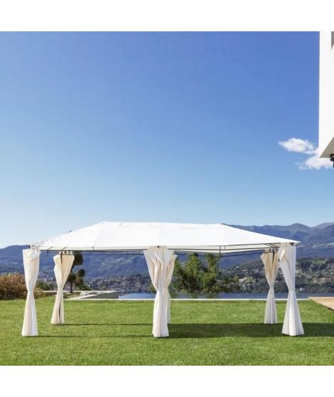 Gazebo - 3 x 6 m - Avec Rideaux - Structure Acier & Toile Polyester -  Beige