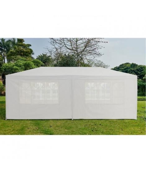 Tonnelle de réception - L.6 x l.3 x H.2,55 m - Structure Acier - Toile polyethylene 140g/m2  - Avec rideaux - Blanc