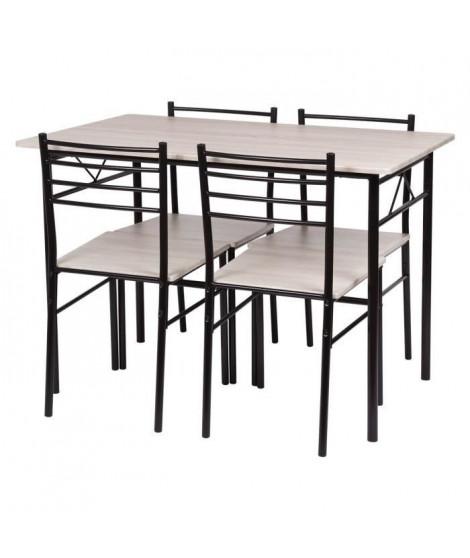 Set table a manger avec 4 chaises - Métal noir et chene - RIVIERA