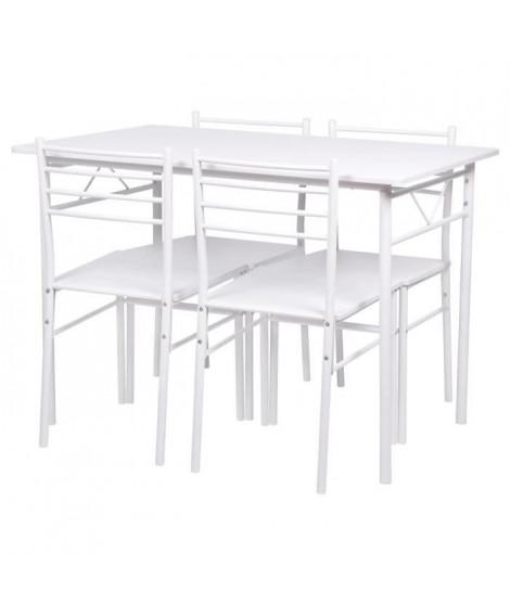 Set table a manger avec 4 chaises - Blanc - RIVIERA