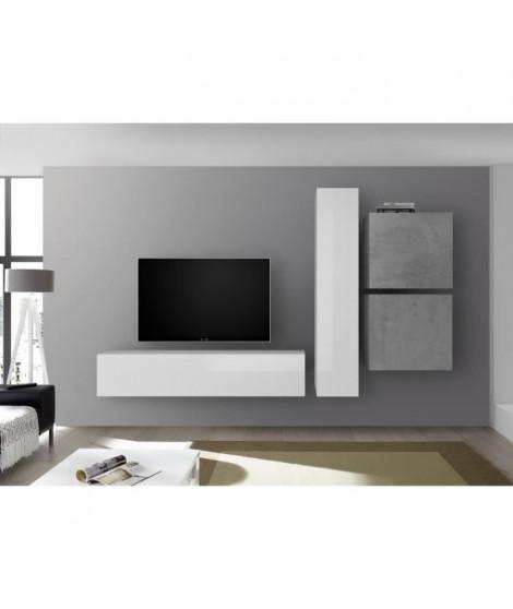 Meuble TV Mural - Ciment et Blanc Laqué  - L 260 x P 30 x H 180 cm - CESENA