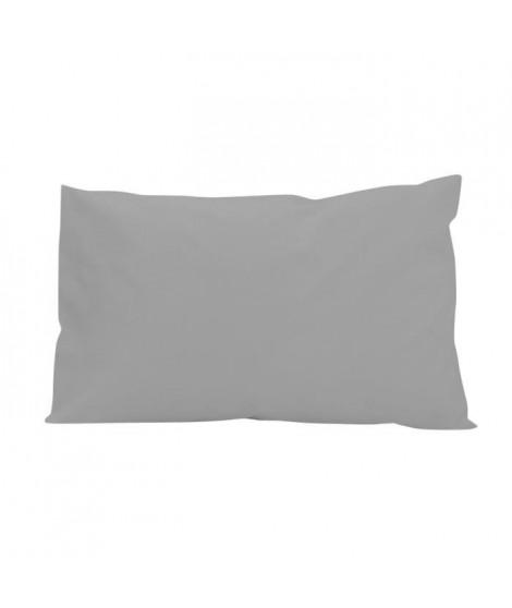 SOLEIL D'OCRE Lot 2 Taies d'oreiller rectangle US 50x75 cm en coton uni 57 Fils - Gris