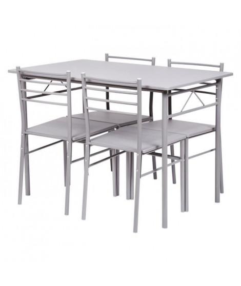 Set table a manger avec 4 chaises - Gris - RIVIERA