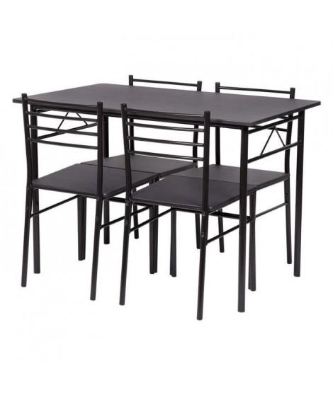 Set table a manger avec 4 chaises - Noir - RIVIERA