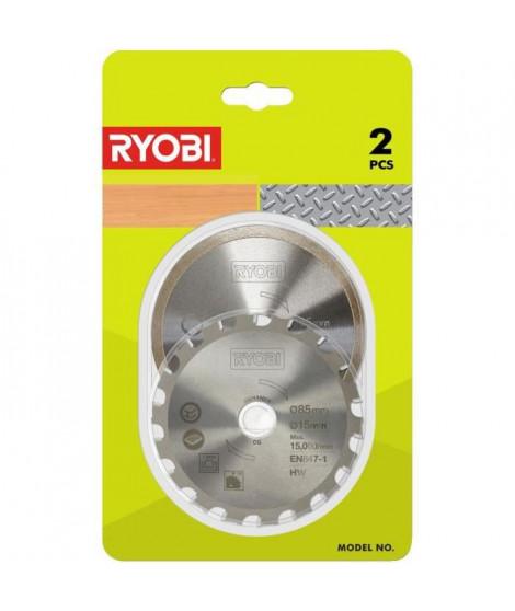 RYOBI Kit 2 lames (1 lame pour bois / métal et 1 lame carrelage) pour scie multi-matériaux R18MMS RAKMMS02K
