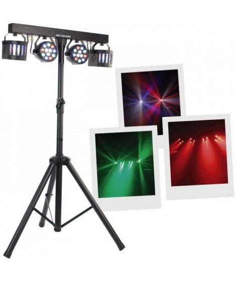 BOOMTONEDJ PARTY BAR DERBY - Stand lumieres : 2 projecteurs de 9 LEDs RGBW 1W multicolores, 2 Nano Derby 12W, trépied