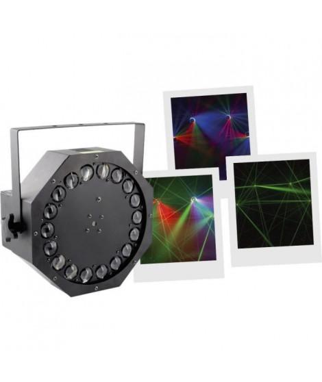 BOOMTONEDJ CYCLONE LZR - Jeu de lumieres a LED avec Laser vert multipoints et effet multifaisceaux tournant
