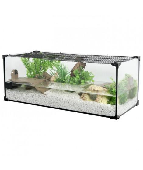 ZOLUX Aquarium Karapas pour tortue aquatique - L 80,5 x p 35,5 x h 30,5 cm - Noir