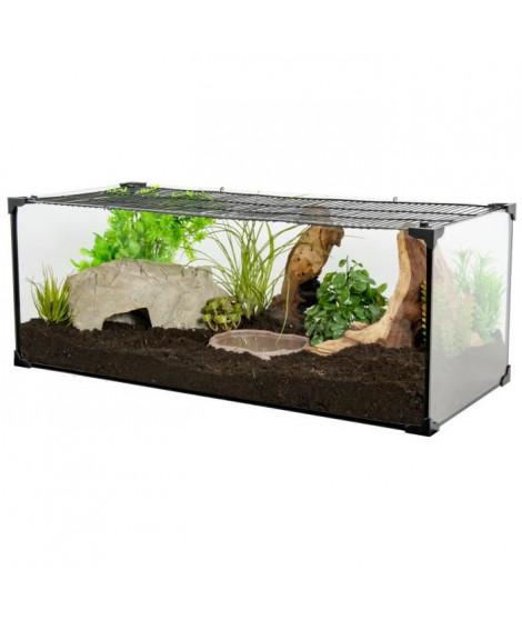 ZOLUX Terrarium Karapas pour tortue terreste - L 60,5 x p 30,5 x h 25,5 cm - Noir