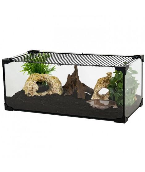 ZOLUX Terrarium Karapas pour tortue terreste - L 100,5 x p 40,5 x h 30,5 cm - Noir