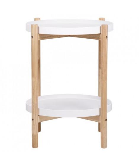 Chevet 2 étageres - En mdf laqué blanc et pieds en bois - ASTRA