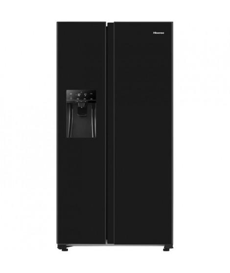 Hisense RS650N4AB1 - Réfrigérateur américain 499L (334L+165L) - Froid ventilé total - Classe F - L91cmxH179cm - Noir