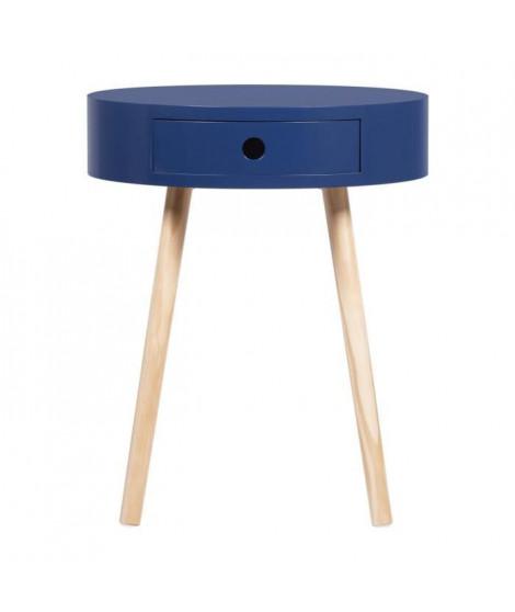 Table d'appoint avec 1 tiroir - MDF laqué avec piétement en Bois pin massif - Bleu foncé - Joe